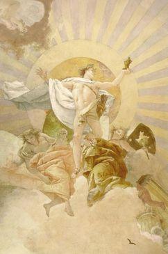 Fresco del techo de la escalera de la Residenz de Würzburg, los dioses del cielo del norte, el detalle: el dios del sol Apolo, con una estatua de Atenea frente a un disco del sol estilizado, Giovanni Battista Tiepolo, 1750, Residence Würzburg, Bavaria, Alemania