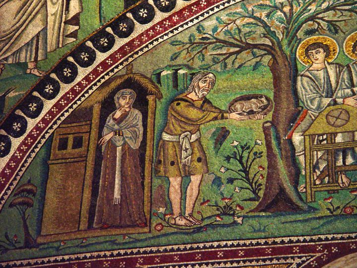 Abraham and the Angels c. AD 547 Mosaic San Vitale, Ravenna Source: Vanderbilt Divinity Library, Nashville, TN. Elonei (oaks of) Mamre was Abraham's dwelling place. Here he built an altar to God (Gen. 13:18).