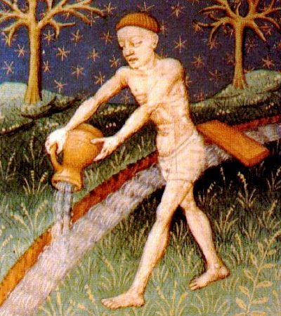 Acuario, ilustración de un libro de astrología medieval, siglo XV, autor desconocido