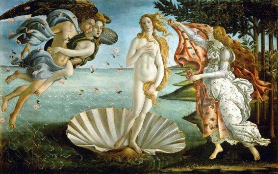 El nacimiento de Venus (La Nascita di Venere) Sandro Botticelli, 1484 Temple sobre lienzo • Renacimiento, Galería Uffizi, Florencia, Italia