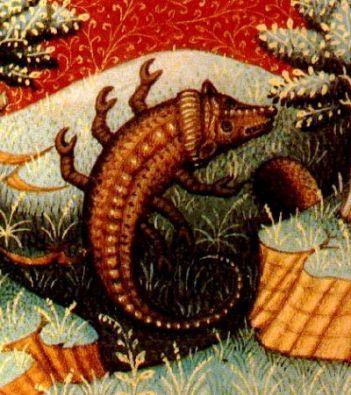 Escorpio, ilustración de un libro de astrología medieval, siglo XV, autor desconocido