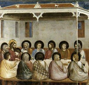 Giotto di Bondone-Escena número 13 de la vida de Cristo. Ultima Cena, Cappella Scrovegni, Padua, 1304-06