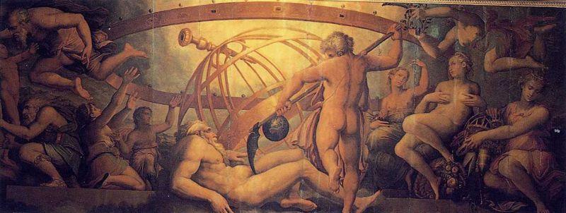 Cronos (Saturno) castra un su padre Urano, El Dios griego del Cielo (Antes de Zeus), Giorgio Vasari y Cristofano Gherardi en el siglo 16 el Palazzo Vecchio, Florencia