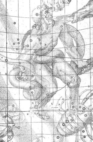 """Johannes Kepler 'Constelación Ofiuco / Ophiuchus """"el portador de la serpiente""""' . Dibujo de la supernova, 1604. Wikimedia Commons 22 octubre 2010"""