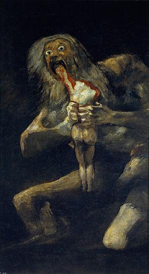 """""""Saturno devorando a su hijo"""", Goya. 1819–1823. , Museo del Prado, Madrid"""