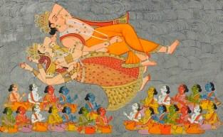 'Creación del océano cósmico y los elementos', Shiva Purana,1828