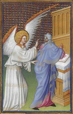 The Archangel Gabriel Appears to Zachary from Les Très Riches Heures du duc de Berry, Folio 43v - the Musée Condé, Chantilly