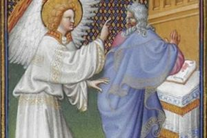 The Archangel Gabriel Appears to Zachary from Les Très Riches Heures du duc de Berry, Folio 43v - the Musée Condé, Chantilly