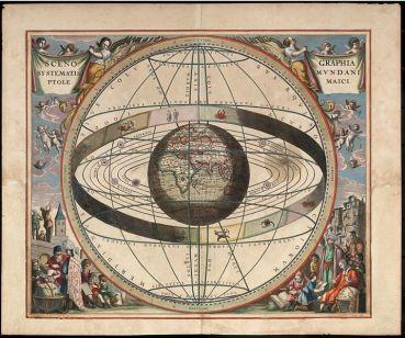 El gráfico muestra los signos del zodiaco y el sistema solar con el mundo en el centro del Andreas Cellarius Sistema Ptolomeico Harmonia Macrocosmica, Loon, J. van (Johannes), 1660/61. Wikimedia Commons