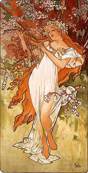 'Primavera', Alfons Mucha, 1896, Art Renewal Center Museum.