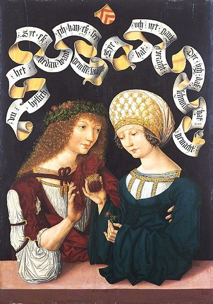 'Pareja de amantes',   Master of the Housebook, 1480-1485,  Gotha, Alemania