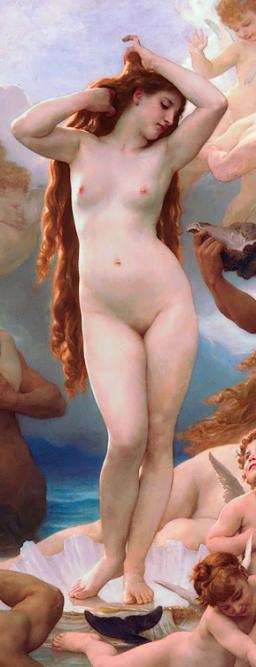 William-Adolphe Bouguereau detalle de 'El nacimiento de Venus', 1879, Museo d'Orsay, Paris-Francia. Wikimedia Commons 29 Junio 2005
