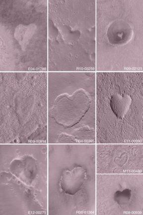 Formas de corazón encontradas en Marte, Fotos: NASA.