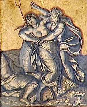 'El secuestro de Perséfone', con Plutón sosteniendo su bidente, René Antoine Houasse 1678/