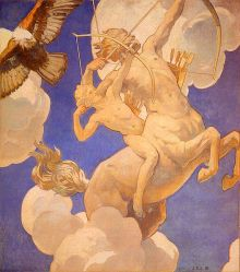 'Quirón y Aquiles', de John Singer Sargent, alrededor de 1922-1925, Museo de Bellas Artes de Boston. Quirón, recibió como discípulo a Aquiles a quien le daba de comer entrañas de leones y cerdos salvajes, y la médula de las lobas.