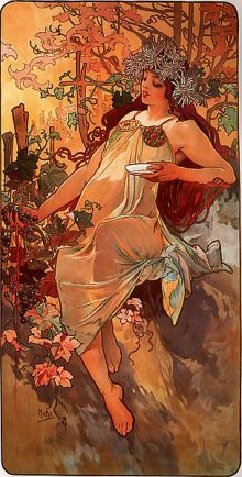 Alfons Mucha, 'Otoño', 1896, Colección Privada, Art Renewal Center Museum, Wikimedia Commons  1 enero 2010