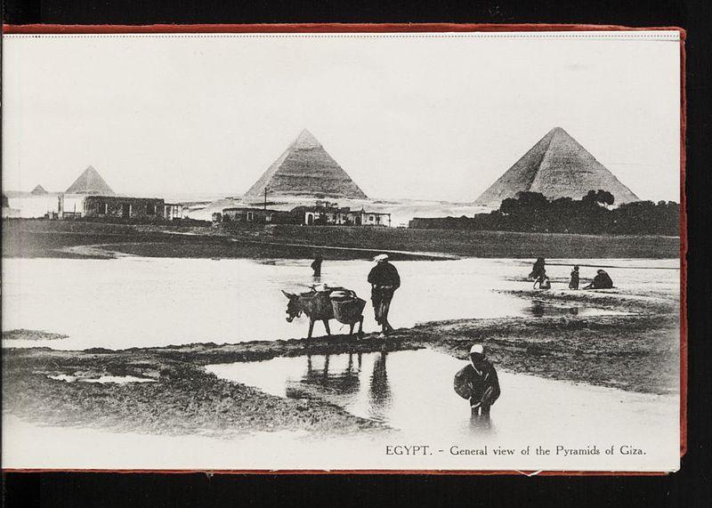 Tres pirámides en el fondo, dos casas bajas y los trabajadores tienden los campos en el primer plano. Vista general de las pirámides de Giza.. De la colección del Dr. Paula Sanders, de la Universidad Rice.
