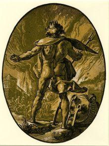 'Plutón' de la serie dioses y diosas, de  Hendrick Goltzius, 1588-1590, Museo Británico.