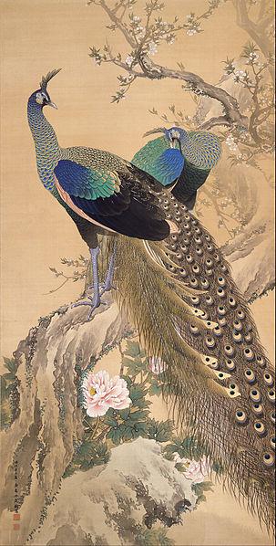 'Un par de pavos reales en Primavera', Imao Keinen 1901, Japón. Google Art Project: