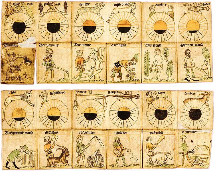 Calendario plegable con imágenes mensuales.Biblioteca Estatal de Berlín - Herencia Cultural Prusiana, aprox 1400