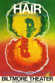 Este es el cartel/poster de 'Hair'. Se cree que el autor del arte del cartel pertenecer a Michael Butler, el productor original de la música o el artista gráfico.