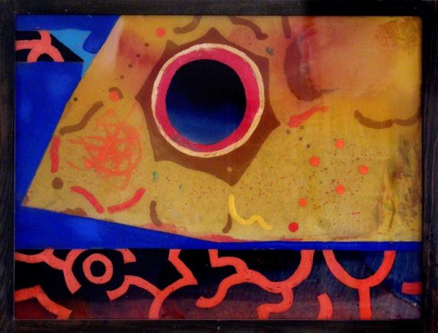 'Eclipse de Sol'  pintura acrílica en vidrio de Drago Druskovic, 1977