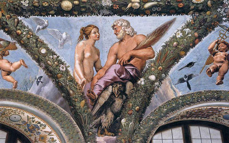 'Venus y Júpiter', fresco realizado por Rafael, entre 1517 y 1518, Loggia di Psiche, Villa Farnesina, Roma, Italia.
