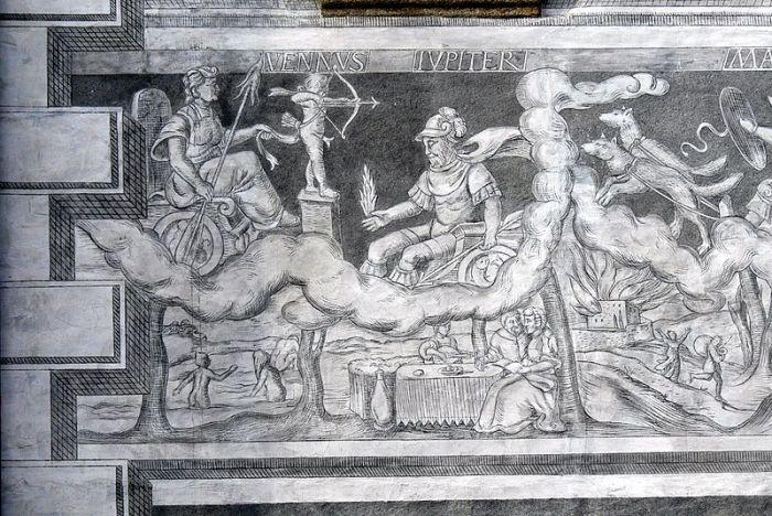 Slavonice (República Checa). Plaza Alta 517: casa esgrafiados (1549) - Venus y Iúpiter como dioses de los planetas y su influencia en la vida humana.