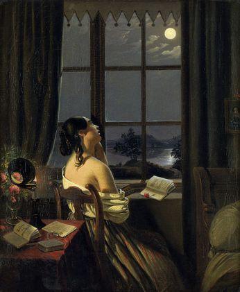 Johann Peter Hasenclever 'Sentimental'. Óleo sobre lienzo. 1846-1847. Kunstmuseum Dusseldorf. Alemania, Wikimedia Commons 1 septiembre 2012