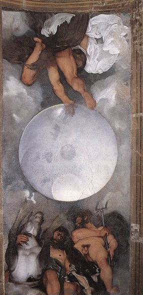 Júpiter, Neptuno y Plutón, Caravaggio 1597-1600, fresco en el Casino Boncompagni Ludovisi. Roma, Italia
