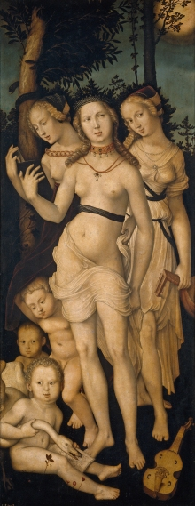 'Armonía' o 'Las tres gracias', de Hans Baldung,  1541-1544, se encuentra en el Museo del Prado, Madrid, España. Las tres gracias según la mitología griega fueron  Aglaya ('Belleza'), Eufrósine ('Júbilo') y Talia ('Floreciente'). También estaban asociadas con el inframundo y los rituales de iniciación.