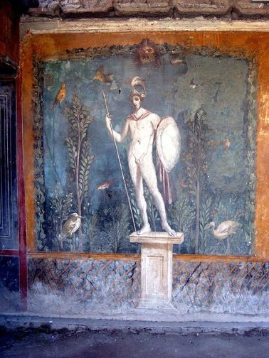 Mural de una estatua de Marte, en Pompeya, Italia. Foto: Kleuske, abril de 2005.