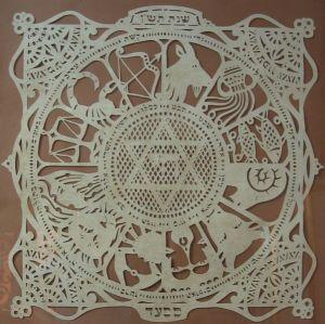 El zodiaco rodeando a la Estrella de David. Papel cortado, creado en 1990. Sabina Saad 2008