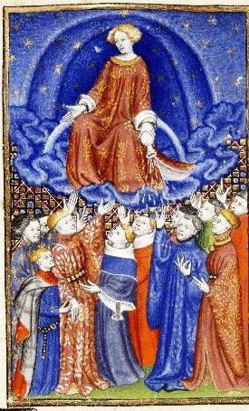 Júpiter, sentado en un arco iris, mira a los hombres que estaban abajo y da sus bendiciones. Epístola de Othea (Manuscrito de la Reina). Anónimo, Siglo 15