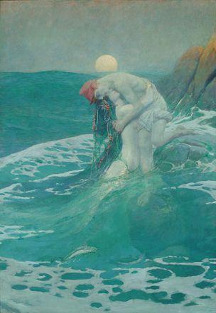'La Sirena', óleo de Howard Pyle, 1910, Delaware Art Museum, USA.