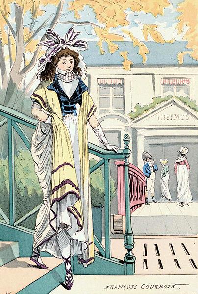 'Baños de Vigier Año V - 1797',  de François Courboin 1898.. Esta placa de color representa a una mujer frente a un edificio de termas 'Thermes'. Los baños termales, se remontan a la antigua Grecia y Roma, y estos junto a otros tratamientos de spa se pusieron de moda a finales del siglo 18 en Inglaterra y se trasladaron a través de Europa, sobre todo entre la élite.