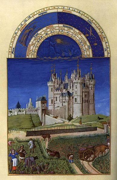 Les' Très Riches Heures du Duc de Berry: septiembre'.ilutstración de Gebroeders van Limburg (1412-1416), Musée Condé, Chantilly-Francia.