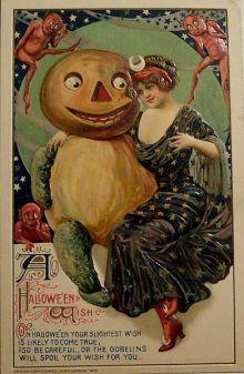 """Tarjeta de Halloween, de John Winsch1912. El texto dice """"Un deseo de Halloween: En Halloween es probable que tu más mínimo deseo se haga realidad, así que ten cuidado o los duendes te echan a perder el deseo""""."""