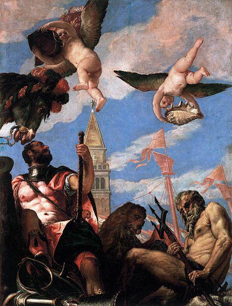'Marte y Neptuno'. pintura en óleo de Paolo Veronese 1575-1578, Palacio Ducale, Venecia-Italia.