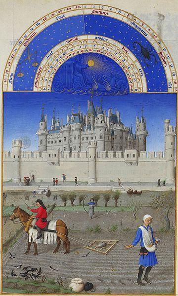 ' Octubre, Très Riches Heures du duc de Berry', pintura en pergamino de los hemanos Limbourg, realizada entre 1412-1416 y 1440. Musée Condé, Chantilly-Francia.