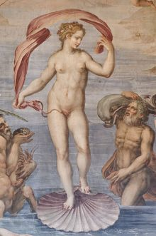 'Nacimiento de Venus', fresco de Giorgio Vasari, 1556- 1558, ubicado en el Salón de los Elementos del Palazzo Vecchio, Florencia-Italia. Esta gran sala del palacio está llena de frescos alegóricos al Agua, al Fuego y la Tierra y el techo, representa a Saturno, .