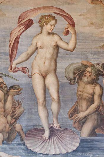 'Nacimiento de Venus', fresco de Giorgio Vasari, 1556- 1558, ubicado en el Salón de los Elementos del Palazzo Vecchio, Florencia-Italia. Esta gran sala del palacio está llena de frescos alegóricos al Agua, al Fuego y la Tierra y el techo, representa a Saturno, .