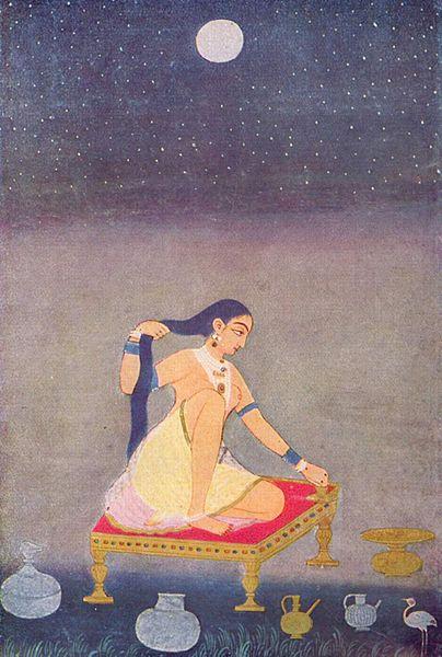 Luna Llena 'Radha en la noche', pintura mogol gouache sobre papel de autor desconocido, 1650. Museo de Grabados y Dibujos, Berlin-Alemania.