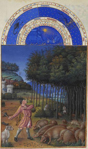 'Noviembre', incluido en el libro gótico francés 'Très Riches Heures du duc de Berry', pintura en pergamino realizada por  Jean Colombe,  1485-1486.   Musée Condé, Francia