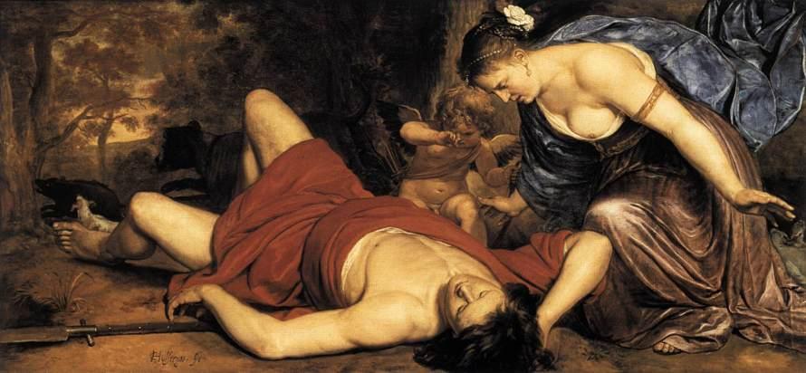 'Venus y el Amor de luto la muerte de Adonis', óleo sobre lienzo de Cornelis Holsteyn, 1655. Frans Hals Museum, Holanda.