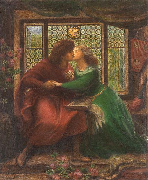 'Paolo and Francesca da Rimini', acuarela de Dante Gabriel Rossetti, 1867, National Gallery of Victoria, Melbourne-Australia.