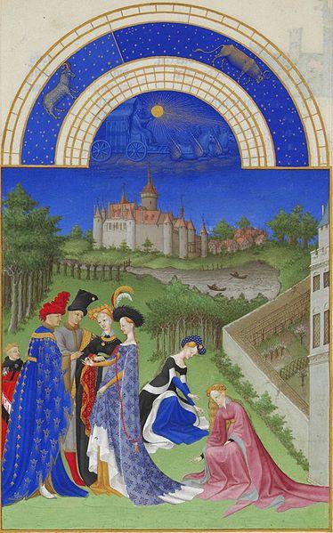 'Abril',Les' Très Riches Heures du Duc de Berry:'.ilutstración de Gebroeders van Limburg (1412-1416), Musée Condé, Chantilly-Francia.