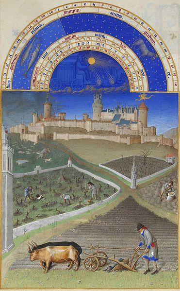Marzo.Les' Très Riches Heures du Duc de Berry:'.ilutstración de Gebroeders van Limburg (1412-1416), Musée Condé, Chantilly-Francia.