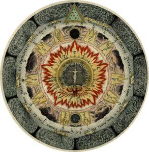 """'La rosa cósmica', grabado en el libro Amphitheatrum Sapientiae aeternae escrita por Heinrich Khunrath. El triángulo en la parte superior contiene un tetractis del Tetragrammaton (nombre hebreo de Dios). Las cinco grandes letras hebreas cerca el contorno irregular de color rojo forman el """"Pentagrammaton"""",  1595."""