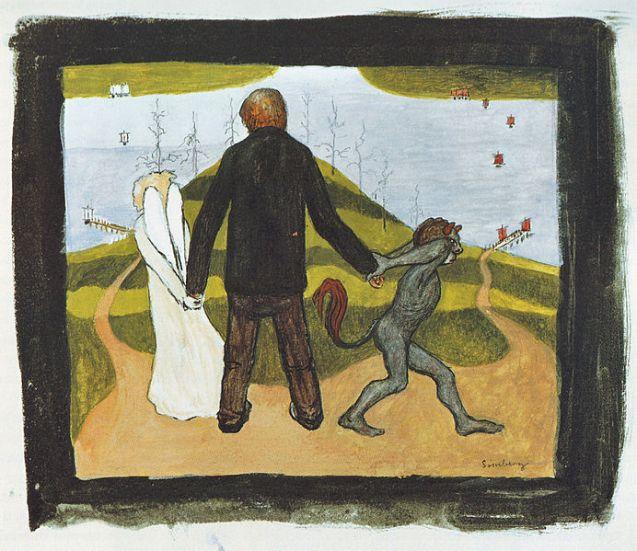 'En el cruce', acuarela y gouache de Hugo Simberg 1896, Ateneum de Helsinki , Finlandia